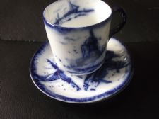 ANTIQUE SMALL CUP & 2 SAUCERS ALLERTONS FINE PORCELAIN RICH FLOW BLUE WINDMILL